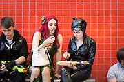 UNITED KINGDOM, London: 24 October 2015. <br /> Comic Con Feature.<br /> Cosplay fans have a lunch break at the MCM London Comic Con at the ExCel Arena in east London.<br /> Photo: Rick Findler / Story Picture Agency