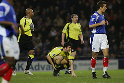 Portsmouth, England - Saturday, February 10, 2007: Portsmouth's against Manchester City's Joey Barton who himself pretends to have an achilles injury during the Premiership match at Fratton Park. (Pic by Chris Ratcliffe/Propaganda)