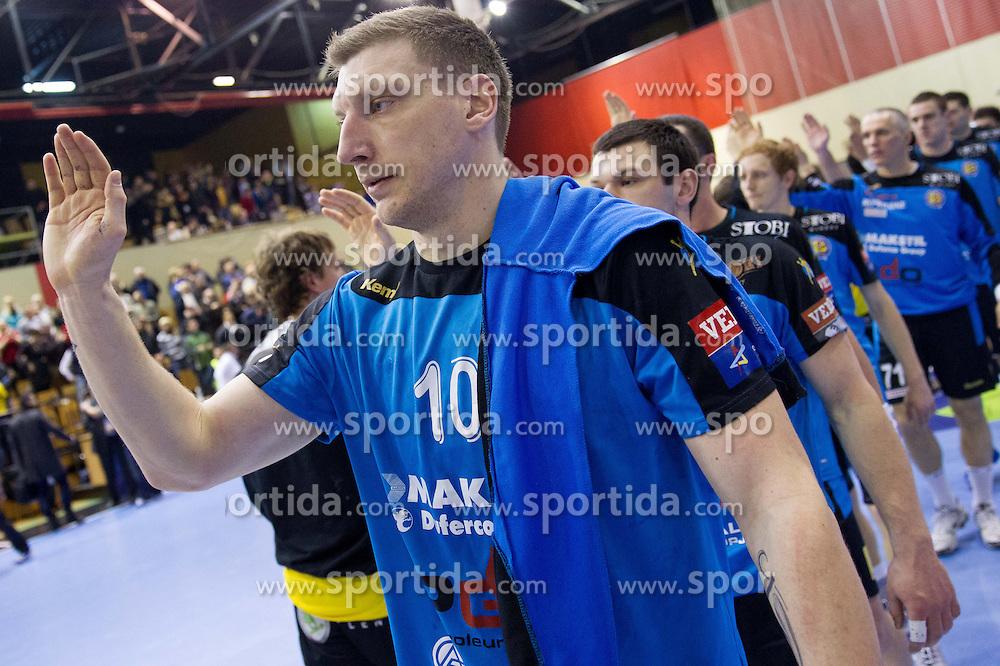 Miladin Kozlina of Metalurg after the handball match between RK Gorenje Velenje (SLO) vs RK Metalurg Skopje (MKD) in 8th Round of Group C of EHF Champions League 2012/13 on February 9, 2013 in Red hall, Velenje, Slovenia. (Photo By Vid Ponikvar / Sportida)