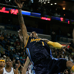 28 January 2009: Denver Nuggets guard J.R. Smith (1) shoots during a 94-81 win by the New Orleans Hornets over the Denver Nuggets at the New Orleans Arena in New Orleans, LA. The Hornets wore special throwback uniforms of the former ABA franchise the New Orleans Buccaneers for the game as they honored the Bucs franchise as a part of the NBA's Hardwood Classics series. .