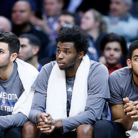 03 February 2016: Minnesota Timberwolves guard Ricky Rubio (9), Minnesota Timberwolves guard Andrew Wiggins (22), Minnesota Timberwolves center Karl-Anthony Towns (32) are seen on the bench during the Minnesota Timberwolves 108-102 victory over the Los Angeles Clippers, at the Staples Center, Los Angeles, California, USA.