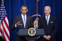 December 13, 2016 - Washington, DC, United States - President Barack Obama made remarks, with VP Joe Biden by his side, before signing the 21st Century Cures Act, in the South Court Auditorium of the Eisenhower Executive Office Building of the White House in Washington, DC. on December 13, 2016. The legislation eases the development and approval of experimental treatments and reforms federal policy on mental health care. (Credit Image: © Cheriss May/NurPhoto via ZUMA Press)