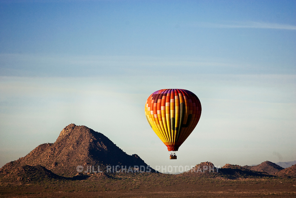 Arizona tourists take to the air in a hot air balloon, guided by Hot Air Expeditions of Phoenix, for a better view of the Sonoran desert and city skyline.