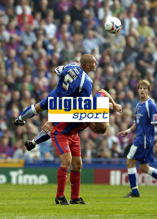 Photo: Olly Greenwood.<br />Crystal Palace v Cardiff City. Coca Cola Championship. 14/10/2006. Cardiff's Robert Page gets above Crystal Palace's James Scowcroft