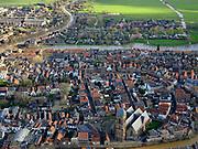 Nederland, Utrecht,  Oudewater, 25-02-2020; Oudewater, kleine stad in het Groene Hart. Riviertje deLange Linschotenmondt uit in rivier deHollandse IJssel. In het centrum onder andere de Waag (heksenwaag) endeGrote of Sint-Michaëlskerk.<br /> Small town in Hollands green heart and rural area.<br /> luchtfoto (toeslag op standard tarieven);<br /> aerial photo (additional fee required)<br /> copyright © 2020 foto/photo Siebe Swar