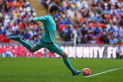 Chelsea goalkeeper Thibaut Courtois during the FA Community Shield match between Chelsea and Arsenal at Wembley Stadium, London, England on 2 August 2015. Photo by Shane Healey.