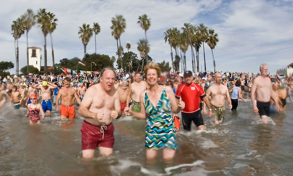 Swimmers dive into the chilly Pacific Ocean during the 58th annual Polar Bear Swim at Cabrillo Beach to welcome in the New Year, Jan. 1, 2010 in San Pedro, Calif. Photo by Patrick T. Fallon