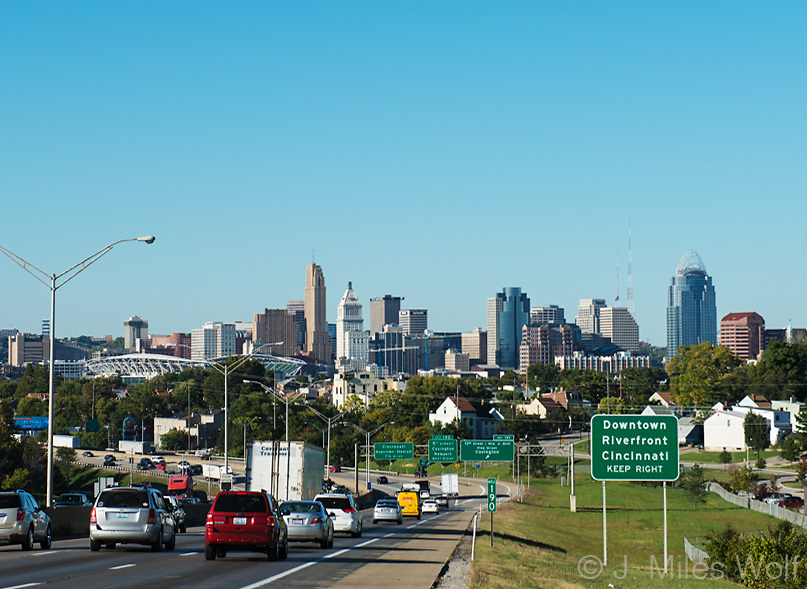 Cincinnati Skyline View from Cut in the Hill