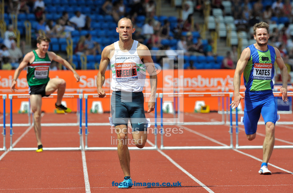 Picture by Alan Stanford/Focus Images Ltd +44 7915 056117<br /> 12/07/2013<br /> Winner Dai Greene (GBR) 400m Hurdles final pictured during day two of Sainsbury's British Championship at Alexander Stadium, Birmingham.