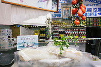 NAPLES, ITALY - 13 JULY 2017:Stockfish and codfish are sold here in at Baccaleria Russo by Porta Capuana in Naples, Italy, on July 13th 2017.