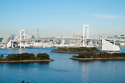 View of Rainbow Bridge in Tokyo Japan