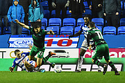 Penalty - Dave Edwards (16) of Reading fouls Pawel Wszolek (22) of Queens Park Rangers in the box and a penalty is awarded during the EFL Sky Bet Championship match between Reading and Queens Park Rangers at the Madejski Stadium, Reading, England on 30 March 2018. Picture by Graham Hunt.