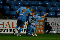 Photo: Steve Bond.<br />Coventry City v Notts County. The Carling Cup. 14/08/2007. Robbie Simpson (kneeling celebrates his goal