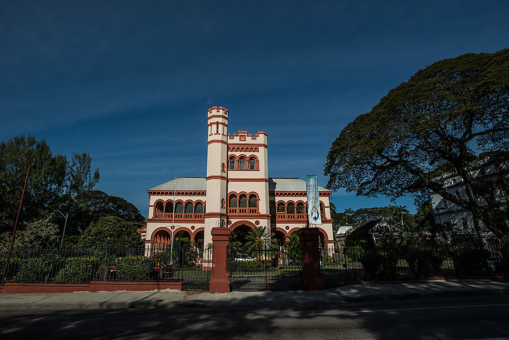 PORT OF SPAIN, TRINIDAD - FEBRUARY 15, 2017: One of the &quot;Magnificent Seven&rdquo;, a series of architecturally varied mansions that line the west side of the Savannah; these exist in various states of disrepair yet retain their early 20th-century grandeur.<br /> PHOTO: Meridith Kohut for The New York Times