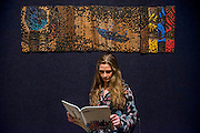 El Anatsui (Ghanaian, born 1944), 'The Pilgrims', est £30,000-50,000<br /> - Bonhams previews works from its Africa Now sail - the first contemporary sale of African artists - and its Gutai and ZERO exhibition. In their offices on New Bond Street.