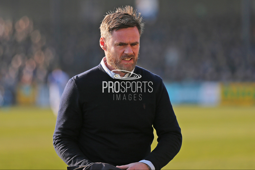 Scunthorpe United Manager Graham Alexander arrives on the pitch during the EFL Sky Bet League 1 match between Bristol Rovers and Scunthorpe United at the Memorial Stadium, Bristol, England on 24 February 2018. Picture by Gary Learmonth.