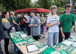 © Licensed to London News Pictures. 20/05/2019. Bristol, UK. CAROLINE LUCAS MP, Green Party (centre). The Green Party hold a rally at the University of Bristol Royal Fort Gardens as part of campaigning in the elections for the European Parliament. Speakers included Green MP Caroline Lucas, and south west England candidates Molly Scott Cato and Carla Denyer. Photo credit: Simon Chapman/LNP