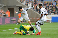 Swansea City's Leon Britton jumps over Wes Hoolahan of Norwich City.<br /> Barclays premier league match , Swansea city v Norwich city at the Liberty stadium in Swansea, South Wales on Saturday 29th March 2014.<br /> pic by Phil Rees, Andrew Orchard sports photography.