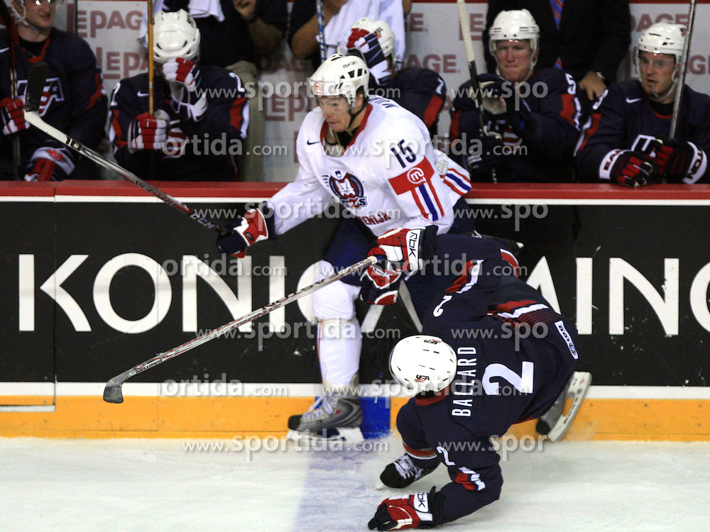 Egon Muric (15) of SLovenia and Keith Ballard (2) at ice-hockey match USA vs Slovenia at Preliminary Round (group B) of IIHF WC 2008 in Halifax, on May 04, 2008 in Metro Center, Halifax, Nova Scotia, Canada. (Photo by Vid Ponikvar / Sportal Images)