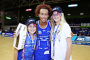 ANZ VIP Cam Dufty aged 12 (L) and Caitlyn Degroen aged 13 (R) with Player of the Match Serena Guthrie of the Mystics. 2015 ANZ Championship, Northern Mystics v Canterbury Tactix, The Trusts Arena, Auckland, New Zealand. 3 May 2015. Photo: Anthony Au-Yeung / www.photosport.co.nz
