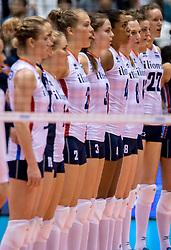17-05-2016 JAP: OKT Thailand - Nederland, Tokio<br /> Nederland verslaat Thailand met klinkende cijfers 3-0 en is weer op koers voor Rio / Line up met Yvon Belien #3, Celeste Plak #4, Judith Pietersen #8