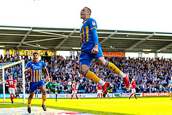 Carlton Morris of Shrewsbury Town celebrates scoring a goal to make it 1-0 - Mandatory by-line: Robbie Stephenson/JMP - 13/05/2018 - FOOTBALL - Montgomery Waters Meadow - Shrewsbury, England - Shrewsbury Town v Charlton Athletic - Sky Bet League One Play-Off Semi Final