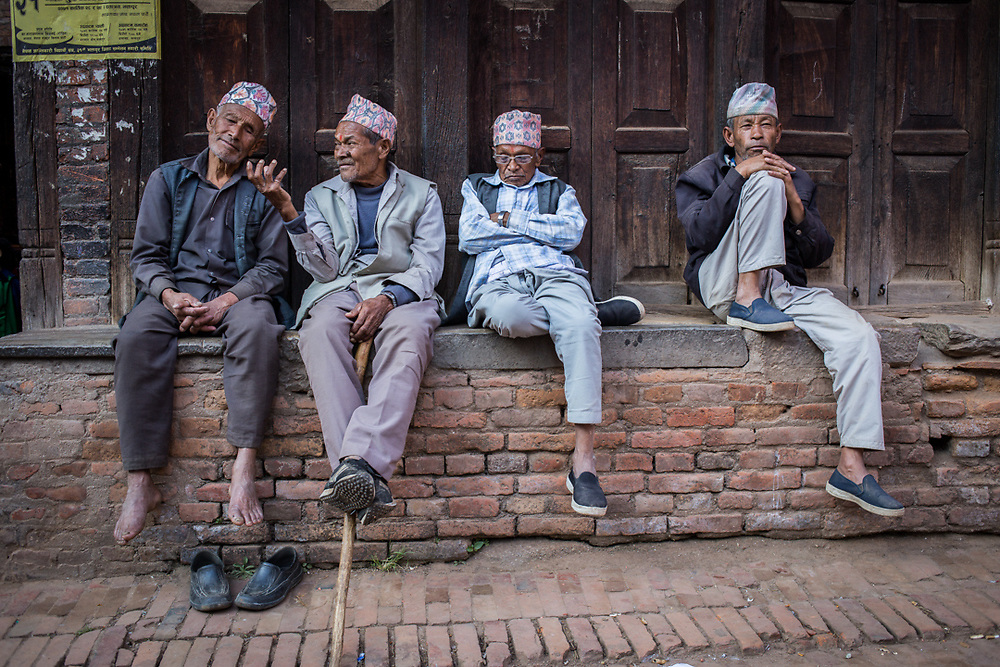 Old friends relaxing in Bhaktapur, Nepal.<br />