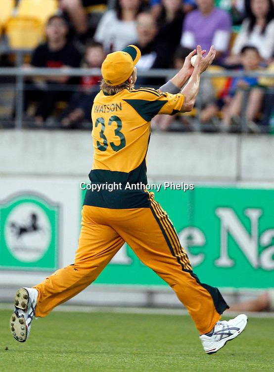 Shane Watson catches Martin Guptill New Zealand v Australia Twenty20 cricket match. Westpac Stadium, Wellington. Friday 26 February 2010. Photo: Anthony Phelps/PHOTOSPORT