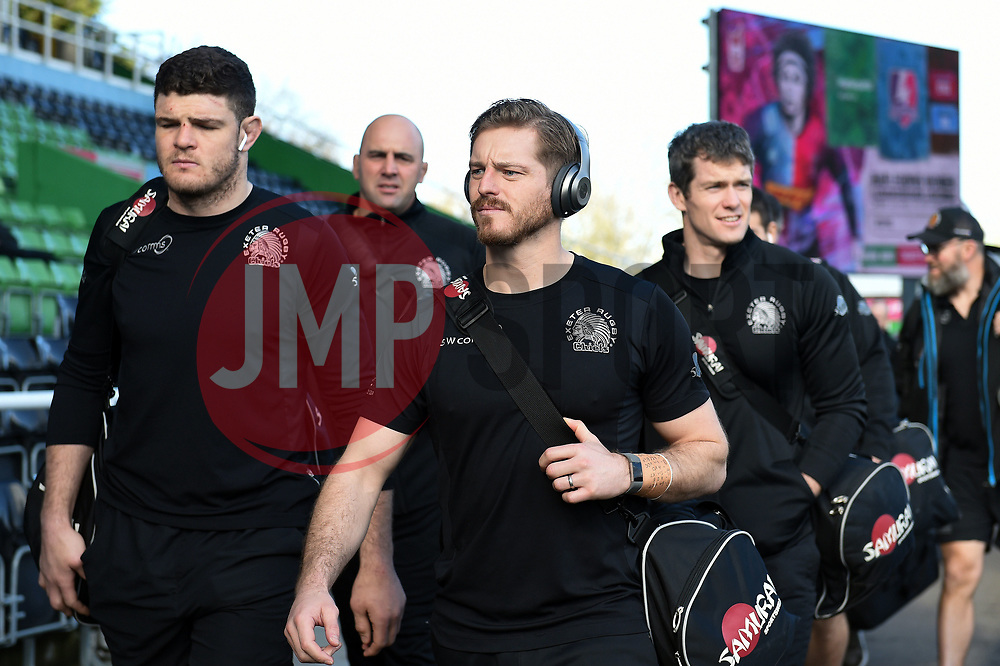 Dave Ewers, Gareth Steenson and the rest of the Exeter Chiefs team arrive at the Stoop - Mandatory byline: Patrick Khachfe/JMP - 07966 386802 - 29/02/2020 - RUGBY UNION - The Twickenham Stoop - London, England - Harlequins v Exeter Chiefs - Gallagher Premiership