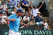 20180408/ Nicolas Celaya - adhocFOTOS/ URUGUAY/ MONTEVIDEO/ CARRASCO LAWN TENNIS/ Uruguay vs Venezuela por la semifinal del Grupo II Zona Americana de la Copa Davis, en el Carrasco Lawn Tennis, en Montevideo.  <br /> En la foto: Pablo Cuevas Uruguay vs Venezuela por la semifinal del Grupo II Zona Americana de la Copa Davis, en el Carrasco Lawn Tennis, en Montevideo.  Foto: Nicol&aacute;s Celaya /adhocFOTOS
