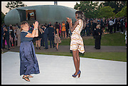 HILARY ALEXANDER; JENNY AGIVI, 2014 Serpentine's summer party sponsored by Brioni.with a pavilion designed this year by Chilean architect Smiljan Radic  Kensington Gdns. London. 1July 2014