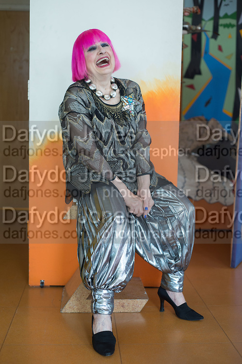 Zandra Rhodes in her apt at the Fashion Museum. Bermondsey. London. 24 May 2016