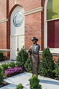 Bluegrass artist Bill Monroe sculpture, Ryman Auditorium, Nashville, Tennessee, USA.