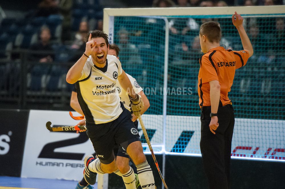 East Grinstead's David Condon celebrates. East Grinstead v Reading - Semi Final Super 6s, SSE Arena, Wembley, London, UK on 29 January 2017. Photo: Simon Parker