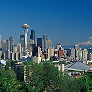 Seattle Washington USA skyline with Mt. Rainier in distance<br />