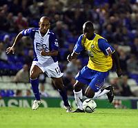 Photo: Mark Stephenson.<br /> Birmingham City v Hereford United. Carling Cup. 28/08/2007.Herefords goal scorer Theo Robinson gets the better of Birminghams Mehdi Nafti