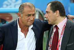 Head coach of Turkey Fatih Terim and Dedes Alexandros  of Greece before the UEFA EURO 2008 Quarter-Final soccer match between Croatia and Turkey at Ernst-Happel Stadium, on June 20,2008, in Wien, Austria. Turkey won after penalty shots. (Photo by Vid Ponikvar / Sportal Images)