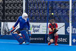 Hampstead & Westminster's Marc Edwards saves a penalty corner on the line. Hampstead & Westminster v Surbiton - Men's Hockey League Final, Lee Valley Hockey & Tennis Centre, London, UK on 29 April 2018. Photo: Simon Parker