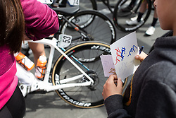 A young fan holds a paper with autographs before Stage 2 of 2019 Emakumeen Bira, a 111 km road race from Aduna to Amasa, Villabona, Spain on May 23, 2019. Photo by Balint Hamvas/velofocus.com