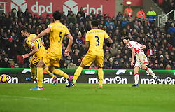 Joe Allen of Stoke City scores the winning goal.. - Mandatory by-line: Alex James/JMP - 11/02/2017 - FOOTBALL - Bet365 Stadium - Stoke-on-Trent, England - Stoke City v Crystal Palace - Premier League