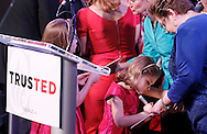 """From left to right, Caroline and Catherine Cruz sign the book """"Green Eggs and Ham"""" for an audience member before Republican presidential candidate Ted Cruz speaks to supporters at his election night party after Super Tuesday in Stafford, Texas, USA, 01 March 2016. Twelve states voted in the early primary on Super Tuesday across the country."""