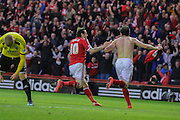 Kike celebrates his goal with Lee Tomlin during the Sky Bet Championship Play Off Second Leg match between Middlesbrough and Brentford at the Riverside Stadium, Middlesbrough, England on 15 May 2015. Photo by Simon Davies.