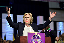 Philadelphia, PA., USA - July 8, 2016: Hillary Clinton rallies, at an event in Philadelphia, PA, in her race to become the first woman to take office of the President of the United States. Both the Democratic and Republican candidates consider the 'Keystone State' as a mayor battleground for the victory in the race for the White House.