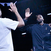 02 April 2017: San Antonio Spurs center Dewayne Dedmon (3) is seen during the players introduction prior to the San Antonio Spurs 109-103 victory over the Utah Jazz, at the AT&T Center, San Antonio, Texas, USA.