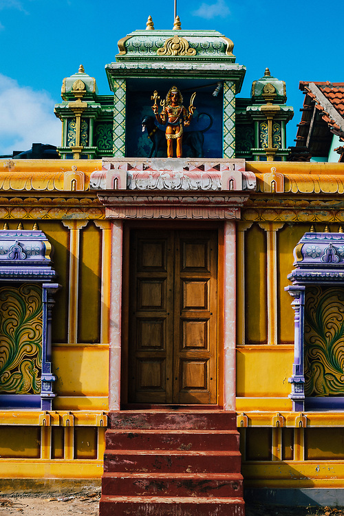 Jaffna, Sri Lanka -- February 8, 2018: Details and carvings at a small Hindu temple.