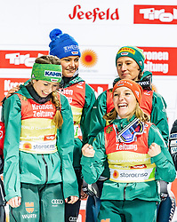 26.02.2019, Seefeld, AUT, FIS Weltmeisterschaften Ski Nordisch, Seefeld 2019, Skisprung, Damen, Siegerehrung, im Bild Weltmeisterin und Goldmedaillengewinnerin Juliane Seyfarth (GER), Ramona Straub (GER), Carina Vogt (GER), Katharina Althaus (GER) // World champion and Gold medalist Juliane Seyfarth Ramona Straub Carina Vogt Katharina Althaus of Germany during the winner ceremony for the ladie's Skijumping HS109 competition of FIS Nordic Ski World Championships 2019. Seefeld, Austria on 2019/02/26. EXPA Pictures © 2019, PhotoCredit: EXPA/ Stefan Adelsberger