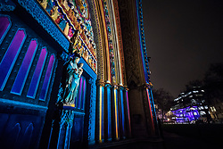 © Licensed to London News Pictures. 17/01/2018. London, UK. Westminster Abbey's North Door is lit by French artist Patrice Warrener 'The Light of the Spirit Chapter 2' during the Lumiere London festival. Running from 18th-21st January 2018 more than 50 artworks are transforming the capital's streets, buildings and public spaces into an immersive nocturnal art exhibition of light and sound. Locations include King's Cross, Fitzrovia, Mayfair, West End, Trafalgar Square, Westminster, Victoria, South Bank and Waterloo. Photo credit: Peter Macdiarmid/LNP