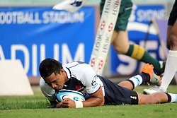 Afa Pakalani dives over to score a try. NSW Waratahs v Fiji. Investec Super Rugby Preseason match, 04 February 2011 SYdney Football Stadium, Australia. Photo: Clay Cross / photosport.co.nz