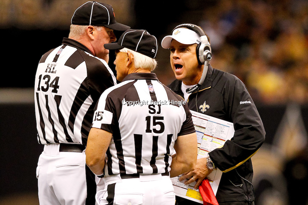 Oct 24, 2010; New Orleans, LA, USA; New Orleans Saints head coach Sean Payton argues with officials on the field during the second half against the Cleveland Browns at the Louisiana Superdome. The Browns defeated the Saints 30-17.  Mandatory Credit: Derick E. Hingle