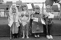 Under 8yrs Fancy Dress left to right;   4th Steven Brooke, Sharlston; 3rd Jenny Edwards, Whitemoor; 1st Rebecca Ann Mills, Frickley; 2nd David Sagar, Woolley.1988 Yorkshire Miner's Gala. Wakefield.